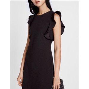 Express Black Ruffle Front Midi Sheath Dress